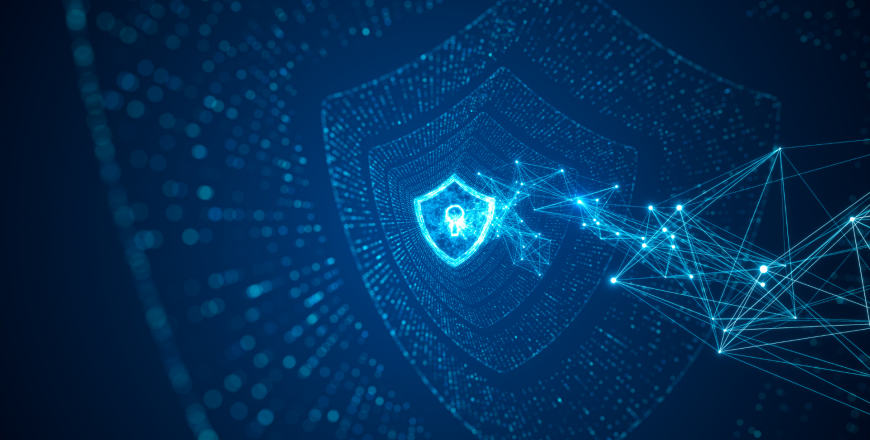 Shield with keyhole icon on digital data background illustrating a safe and secure network that wards off cyber threats and attacks