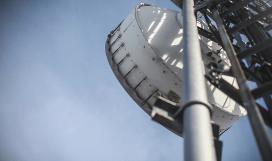 Microwave transmitter antenna on communication tower base station