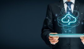 Telecom professional practically implementing virtualisation on device with cloud computing icon