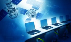 Establishing radio link between computers and satellite