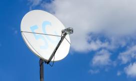Satellite dish with 5g signal icon