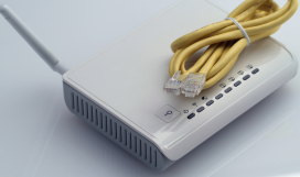Router and wound up ethernet cable used for WiFi setup